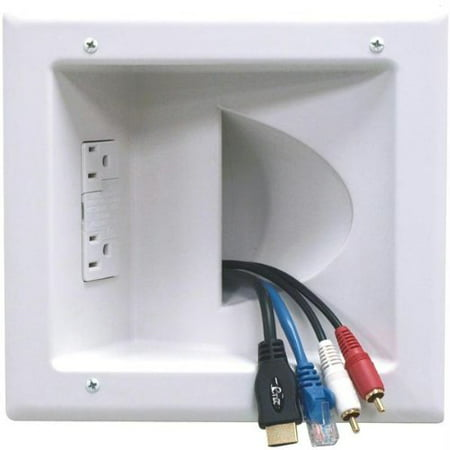 Datacomm Electronics 45-0041-WH Recessed Low-Voltage Media Plate with Duplex Surge Suppressor - Over Voltage Transient Suppressor