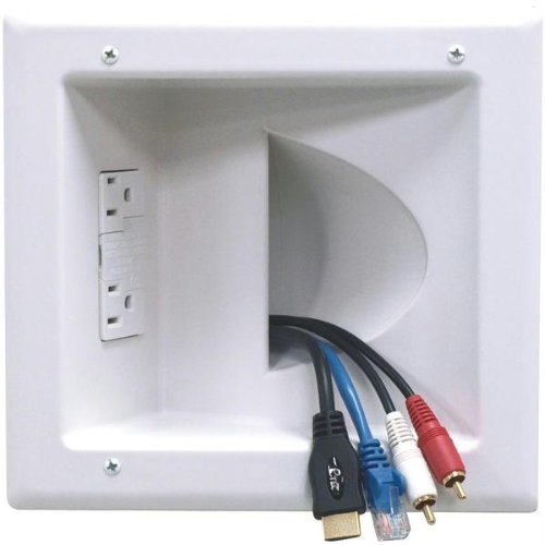 Datacomm Electronics 45-0041-WH Recessed Low-Voltage Media Plate with Duplex Surge Suppressor