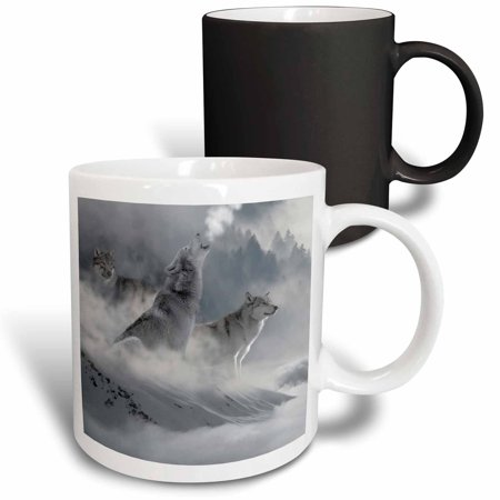 3dRose Fantasy Wolf Wolves Animal with Clouds - Magic Transforming Mug, 11-ounce