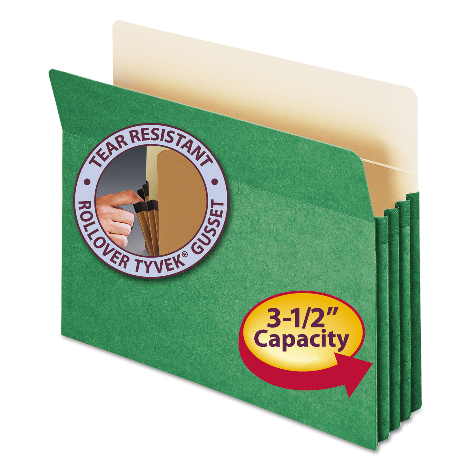 "3 1/2"" Exp Colored File Pocket, Straight Tab, Letter, Green"