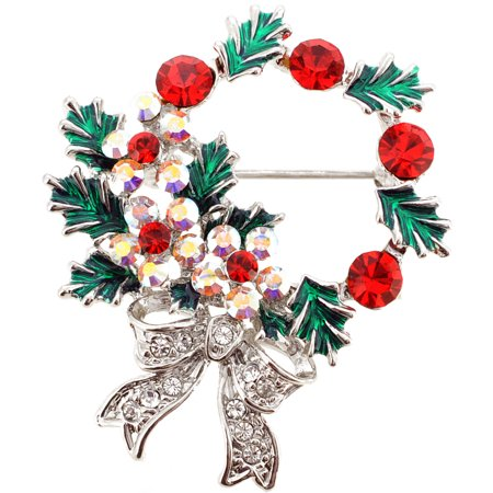 Multicolor Christmas Wreath Crystal Brooch Pin Wreath Fashion Pin