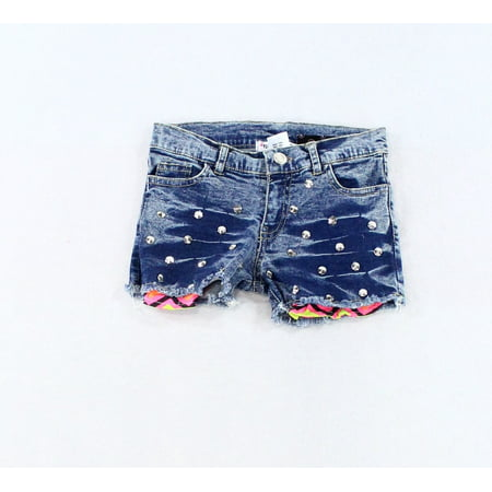 Studded Acid Wash - Girls Studded Acid-Wash Denim Shorts 10