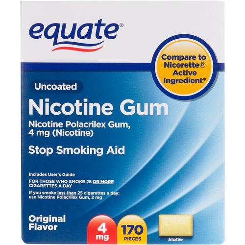 Equate Stop Smoking Aid Original Flavor Gum 4mg, 170 Pieces