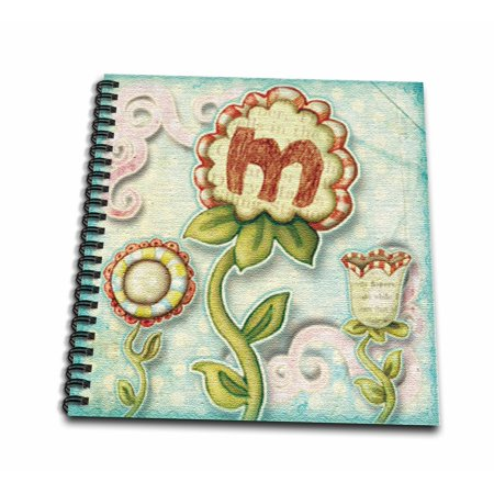 3dRose Cute Quirky Flowers Monogram Letter M - Mini Notepad, 4 by 4-inch](Monogrammed Notepads)