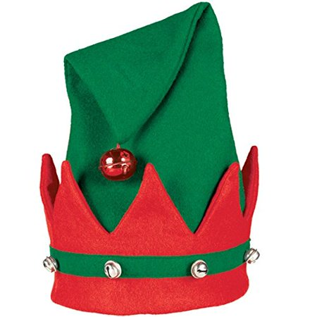 GREEN/RED ELF HAT WITH BELLS,AMSCAN - Paper Elf Hat