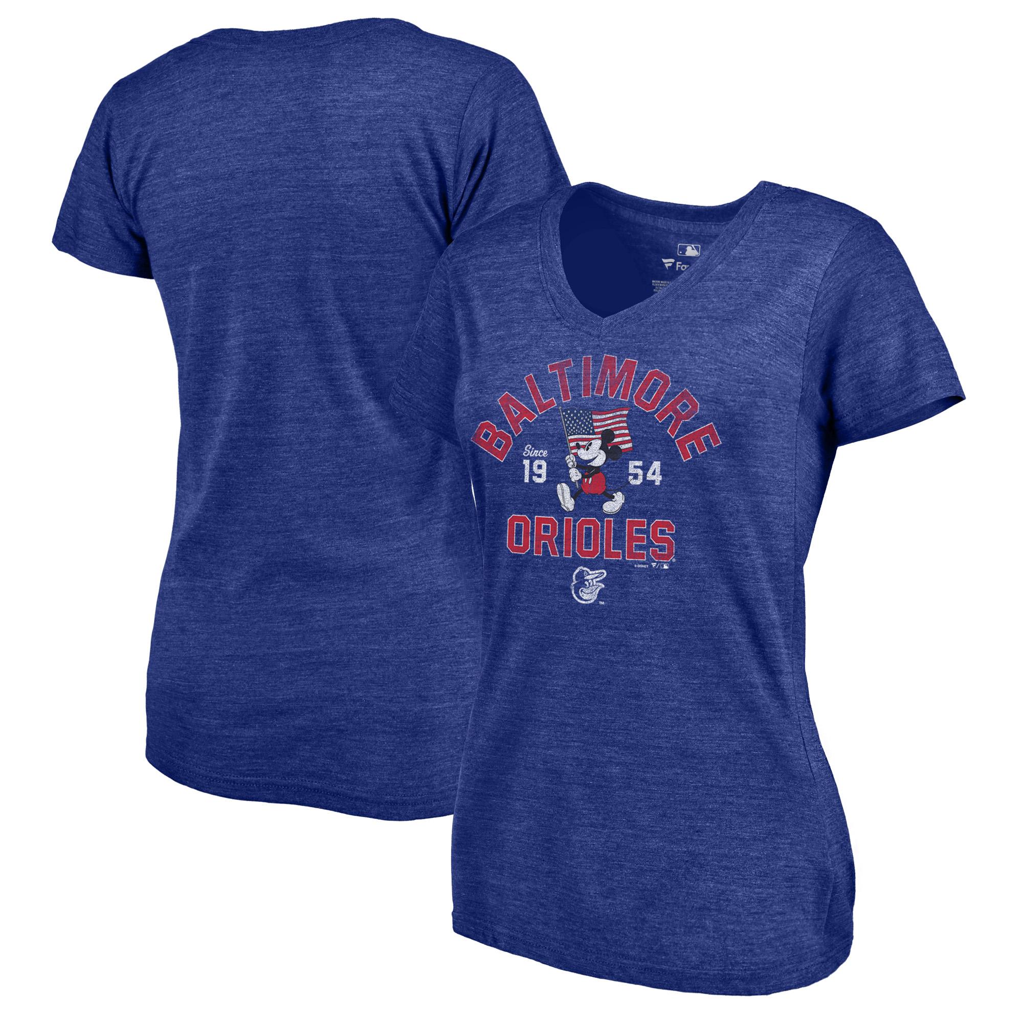 Baltimore Orioles Fanatics Branded Women's Disney American Icon Tri-Blend V-Neck T-Shirt - Royal