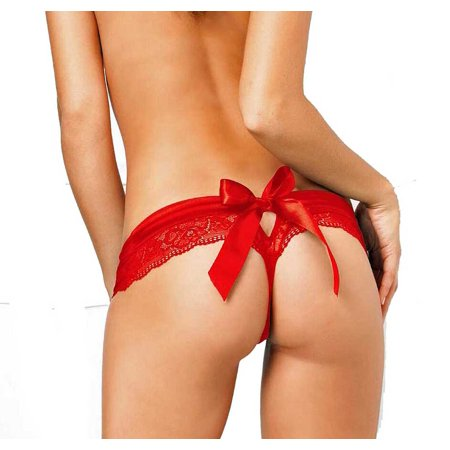 Lacy Line Open Crotch Lace Panties With Bow (Bow Back Lace)