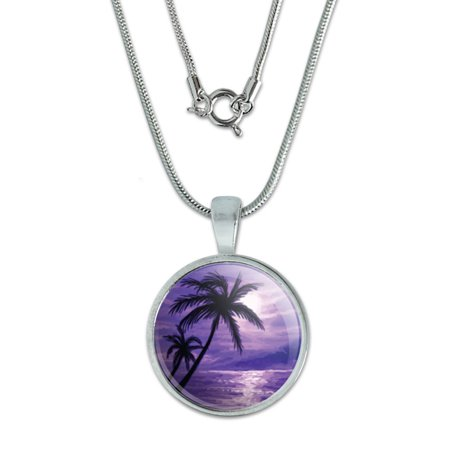Purple Beach Sunset - Ocean Palm Tree Vacation Paradise Small Pendant - Beach Necklaces
