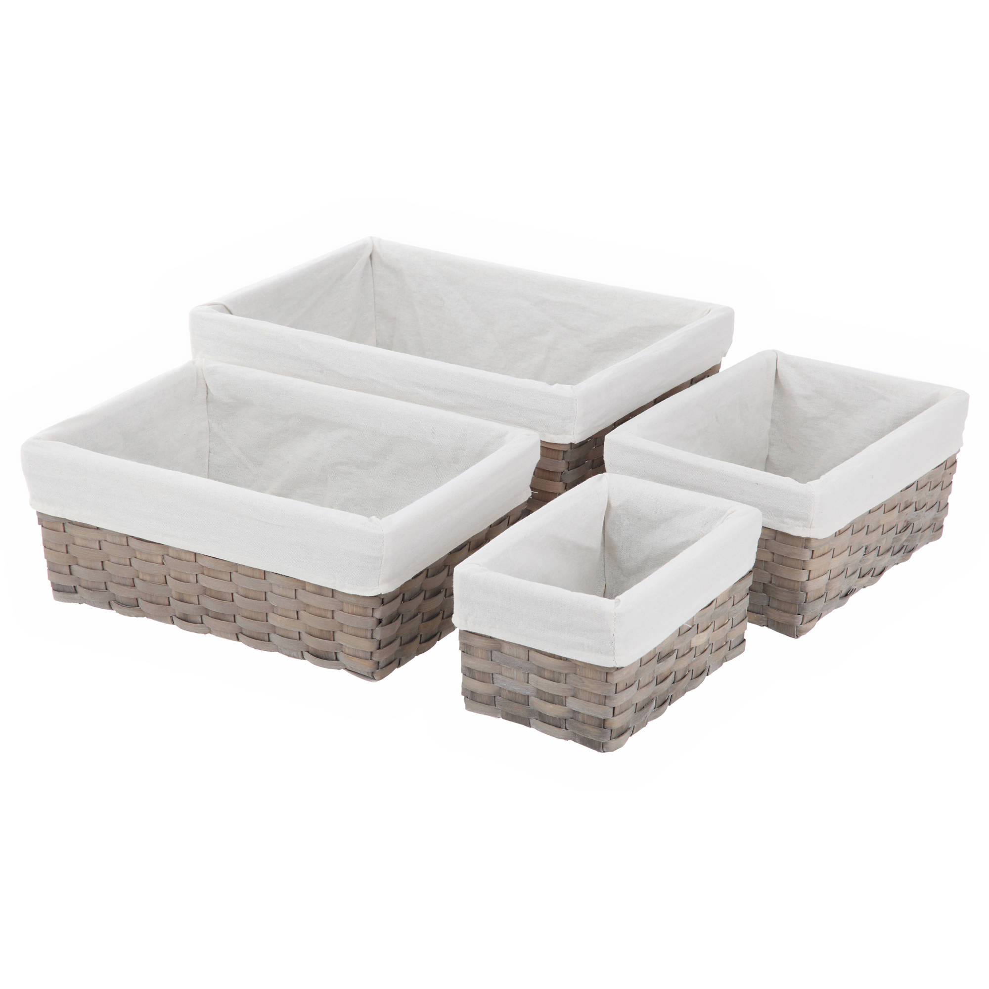 Woven Wood Basket Set, Multiple Colors, 4-Piece Set