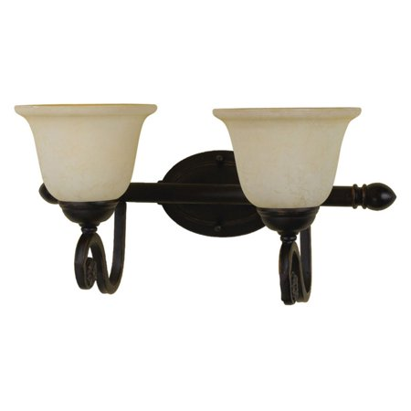 AF Lighting Harmony 2-Light Vanity with Frosted Alabaster Glass Shades, Oil-Rubbed Bronze (Alabaster Frost Glass)