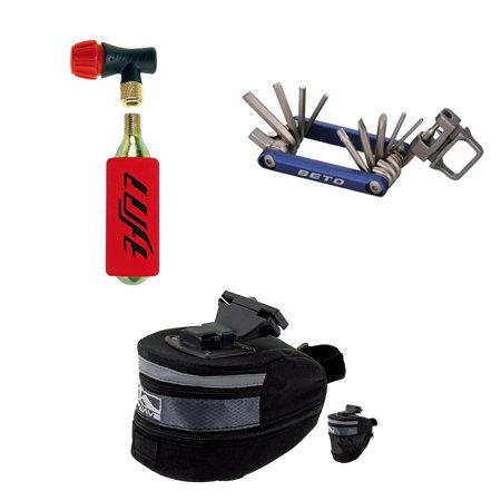 Bicycle Accessory bundle: Mini Pump, Saddle Bag, Multitool (Mini Saddlebags)