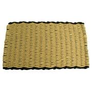 Beige w Black Rectangular Handcrafted Doormat - Border (Cottage: 16 in. W x 26 in. L)