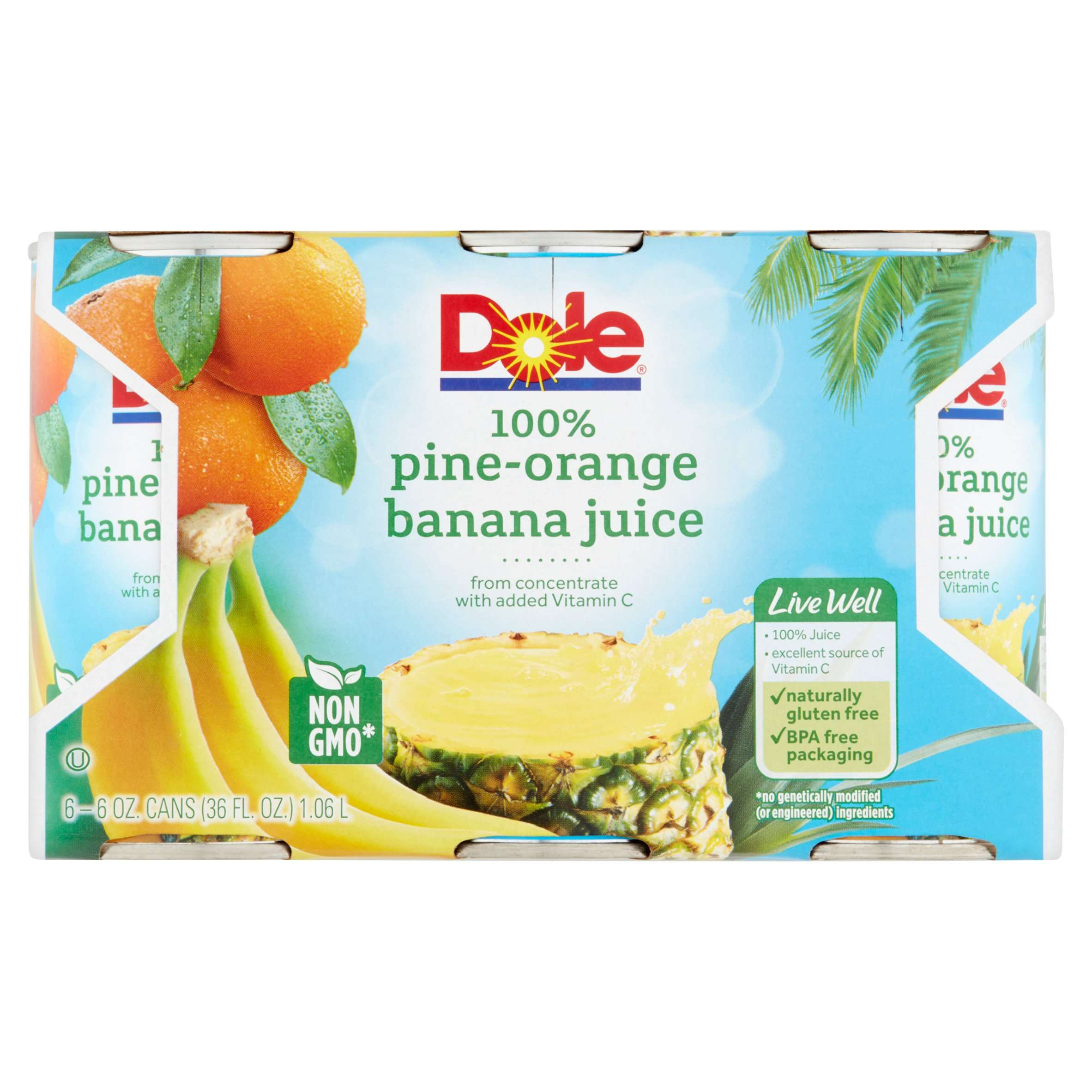 Dole Fruit Juice, Pine-Orange Banana, 6 Fl Oz, 6 Count