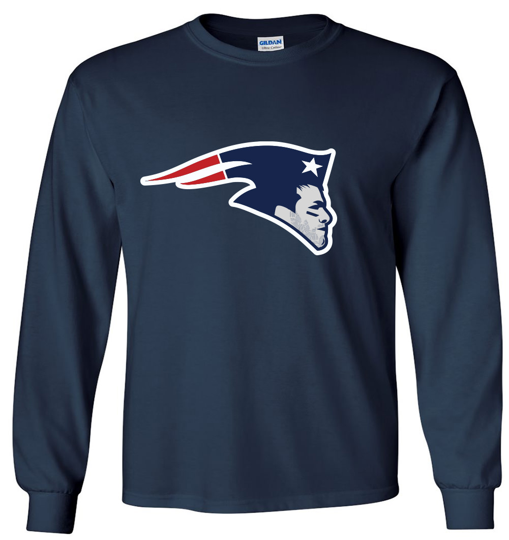 "LONG SLEEVE Shedd Shirts NAVY Tom Brady New England Patriots ""LOGO""  T-Shirt"