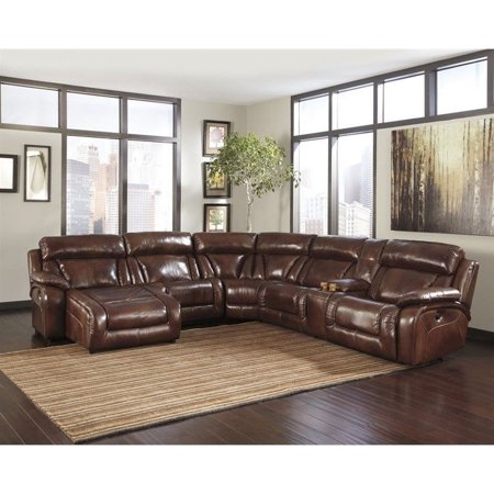 Ashley Furniture Elemen 5 Piece Leather Sectional In Harness