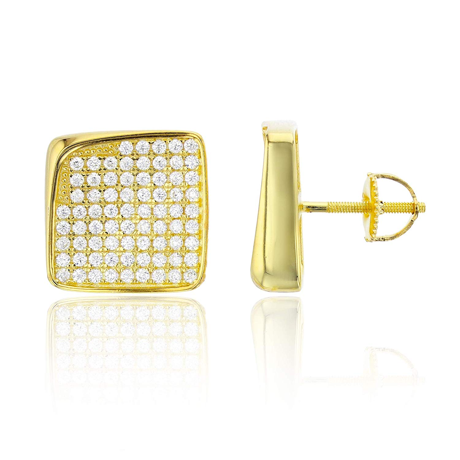 Sterling Silver Rhodium Micropave 18.00mm Curved Square ScrewBack Stud Earring