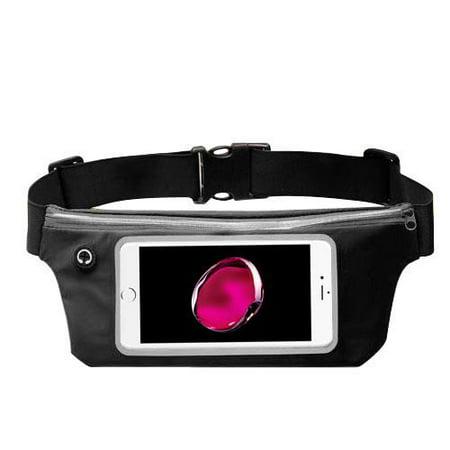 Premium Sports Activity Waist Pack Pocket Belt for Apple iPhone X/ 8/ 7 / 6S/ 6/ Plus/ SE/ 5S/ 5C/ 5/ iPad Pro/ Mini/ Air/ iPod touch 5th 4th (Black) + MND Mini