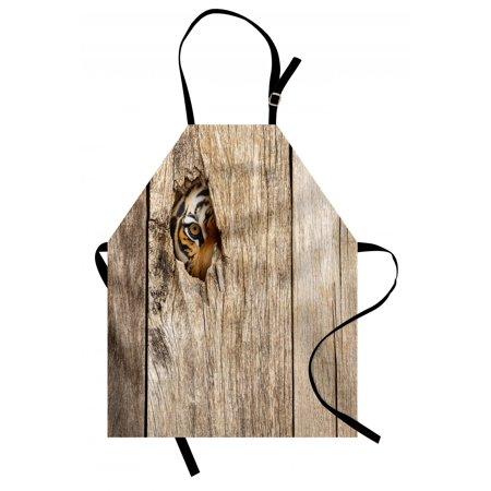 Safari Apron Siberian Tiger Eye Looking Through Wooden Peep Hole in Spy Predator Big Cat Wild Print, Unisex Kitchen Bib Apron with Adjustable Neck for Cooking Baking Gardening, Tan, by (Tan Apron)