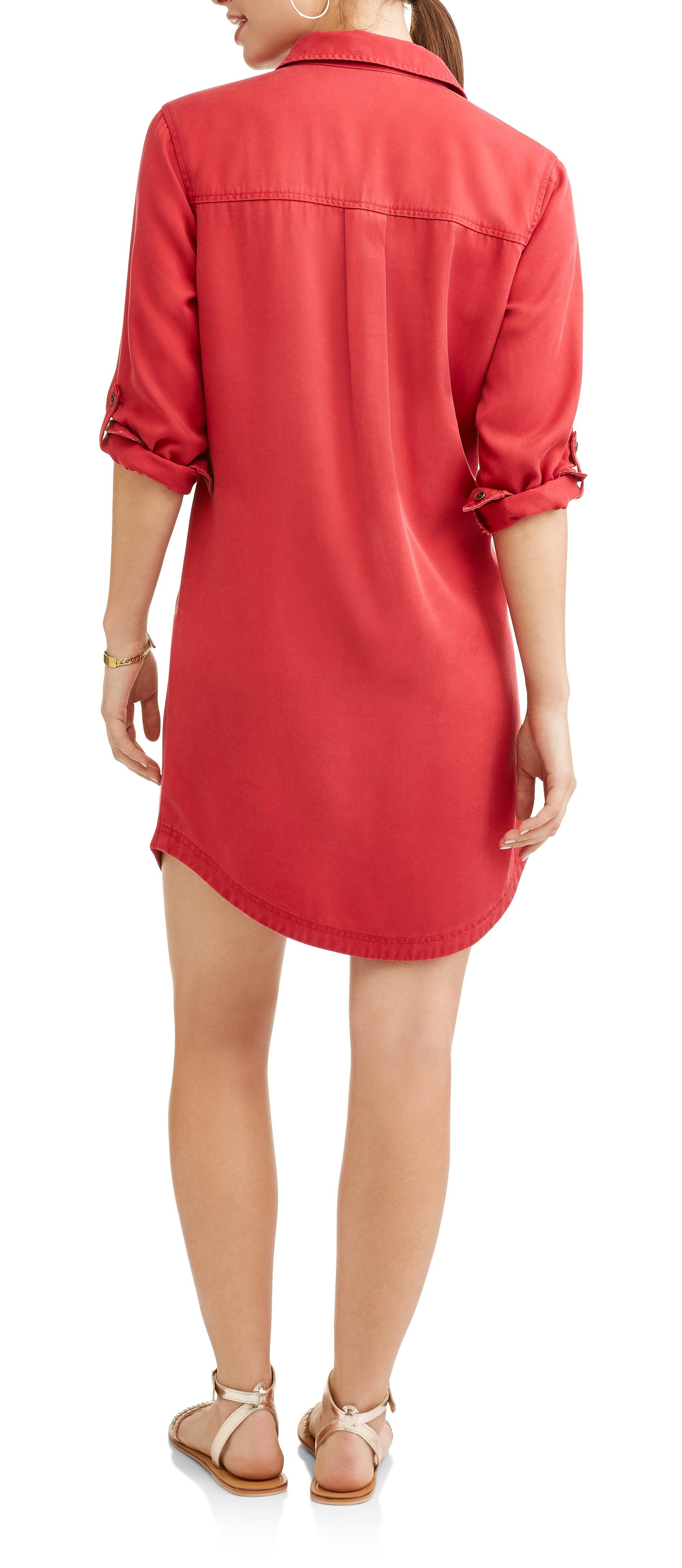 07be0003979 Time and Tru - Women s Lyocell Shirt Dress - Walmart.com