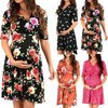 Womens Maternity Dress Half Sleeve V-Neck Pregnancy Clothes Nursing Wrap Dress