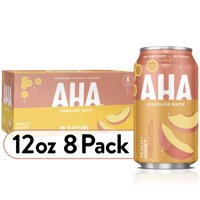 AHA Sparkling Water, Peach Honey Flavored Water, Zero Calories, Sodium Free, No Sweeteners, 12 fl oz, 8 Pack