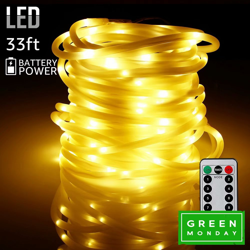 TORCHSTAR 33ft 100 LEDs Outdoor LED String Lights, Warm White, for Green Monday
