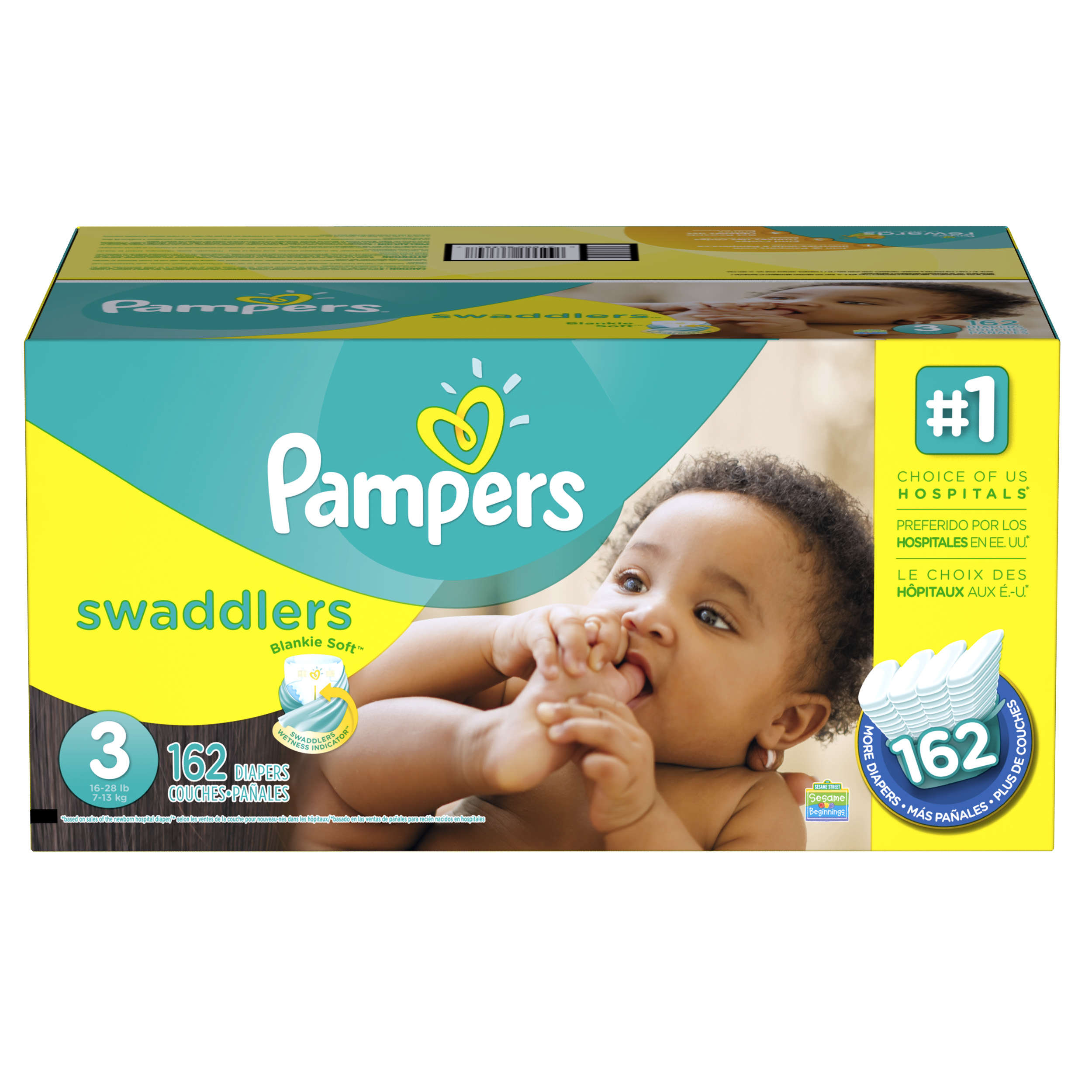Pampers Swaddlers Diapers Size 3 162 Count Walmartcom