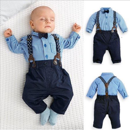 2PCS Kids Infant Baby Boys Plaid Shirt+Suspender Pants Overalls Clothes Outfits - Baby Boy Infant