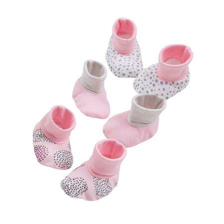 Knit Newborn Booties - Little Star Organic Newborn Baby Girl Booties, 3-pack