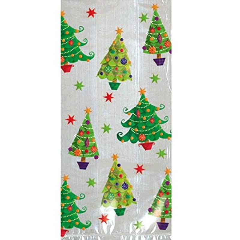 """Amscan 20 Count 11-1/2"""" by 5"""" by 3-1/4"""" Cello Festive Christmas Tree Party Bags, Large, Clear/Multicolor"""