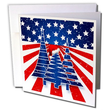 Blue And White Santa Hats (3dRose Stars and Stripes Christmas Trees with Santa Hat in Red White and Blue - Greeting Cards, 6 by 6-inches, set of)