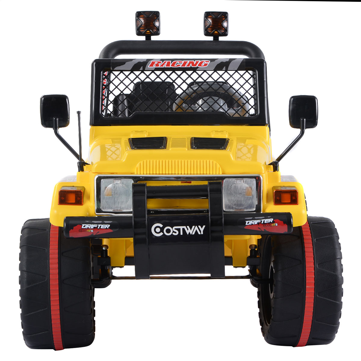 costway 12v mp3 kids raptor jeep truck rc ride on car w double