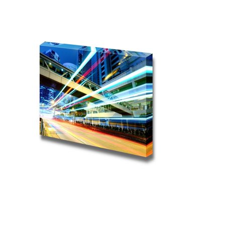 Wall26 - Canvas Prints Wall Art - Hong Kong Traffic at Night | Modern Wall Decor/ Home Decoration Stretched Gallery Canvas Wrap Giclee Print. Ready to Hang - 24