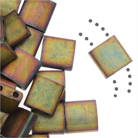 Matte Metallic Khaki Iris Miyuki Tila, Loose Beads, 7.2gm 2 Hole, Loose Seed Beads, (Matte Khaki)