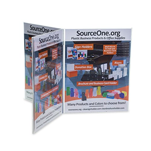 Source One 6 Panel Sided Acrylic Table Tent Sign Holder Table Top Menu Holder (4x6 Inch)