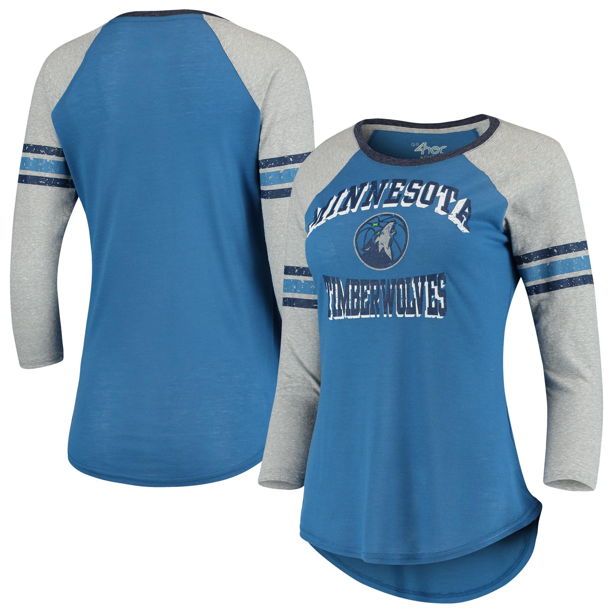 Minnesota Timberwolves G-III 4Her by Carl Banks Women's The Court Tri-Blend Raglan 3/4-Sleeve T-Shirt - Blue/Heathered Gray