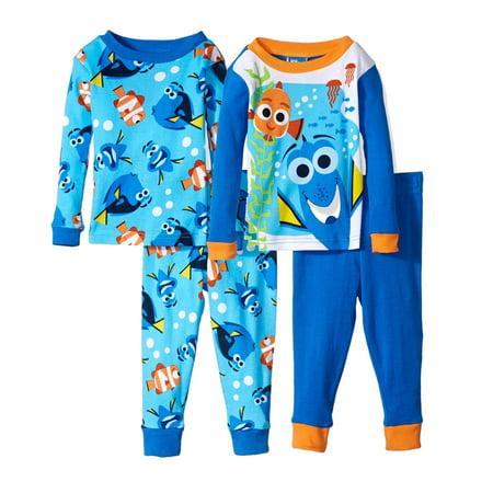 Disney Baby Pajamas (Disney Boys' Finding Dory 4-Piece Cotton Pajama Set, Blue/Tang Blue, Size:)