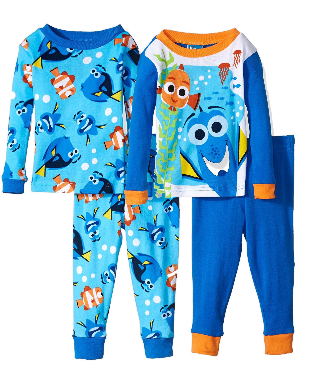 Disney Boys' Finding Dory 4-Piece Cotton Pajama Set, Blue/Tang Blue, Size: 2T