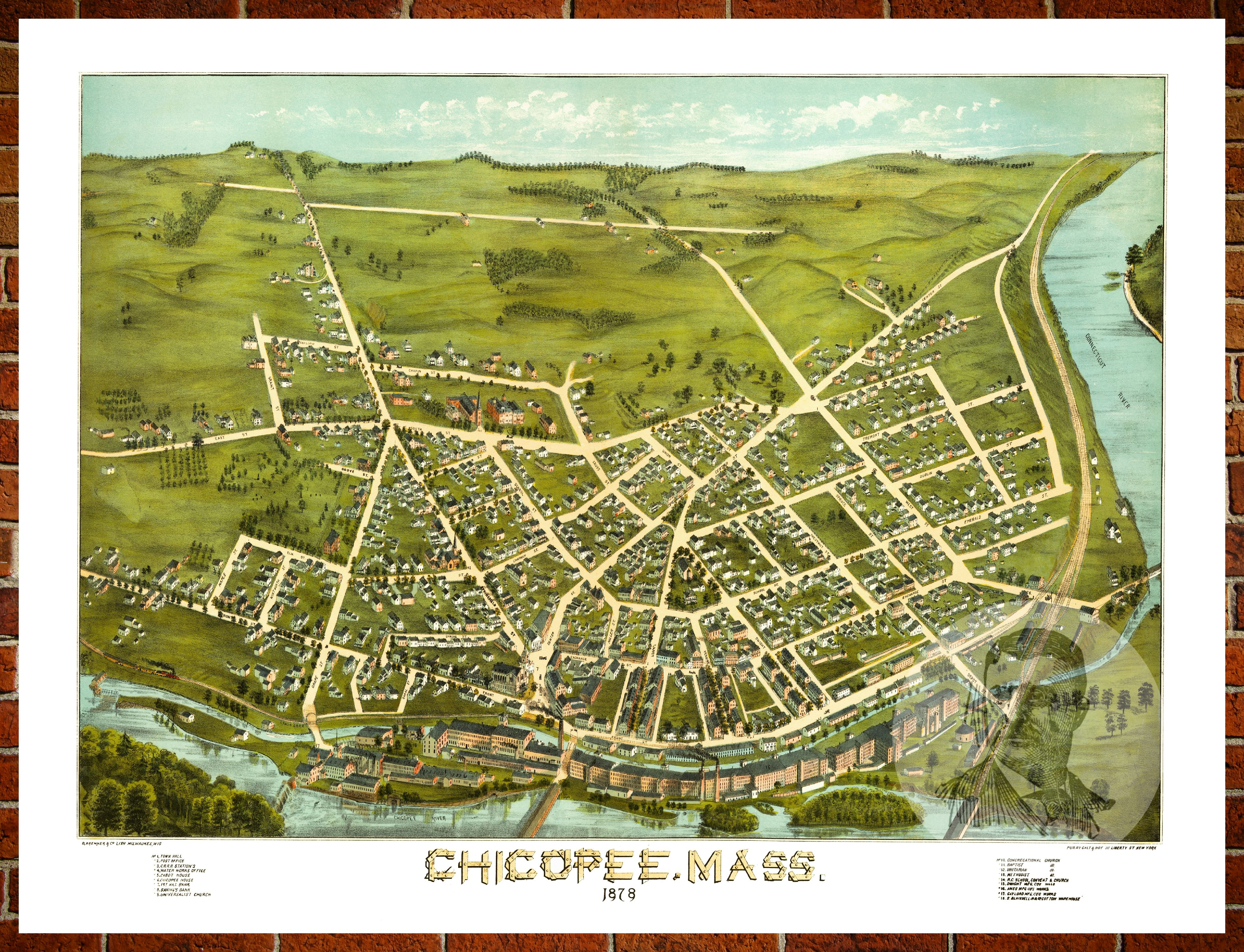 ted u0026 39 s vintage art map of chicopee  ma 1878  old