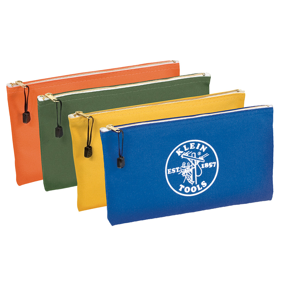 Klein Tools 5140 4 Pack Zipper Tool Bag, Olive/Orange/Blue/Yellow
