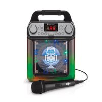 Singing Machine Groove Mini Karaoke System with Flashing Lights, Bluetooth, and 6 Voice-Changing Effects