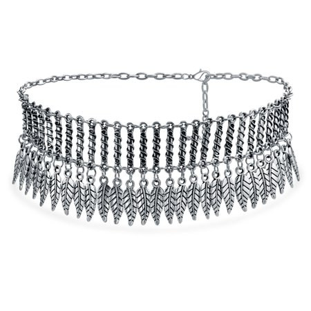 Native American Southwestern Style Dangling Leaf Choker Rhodium Plated Necklace 17 Inches