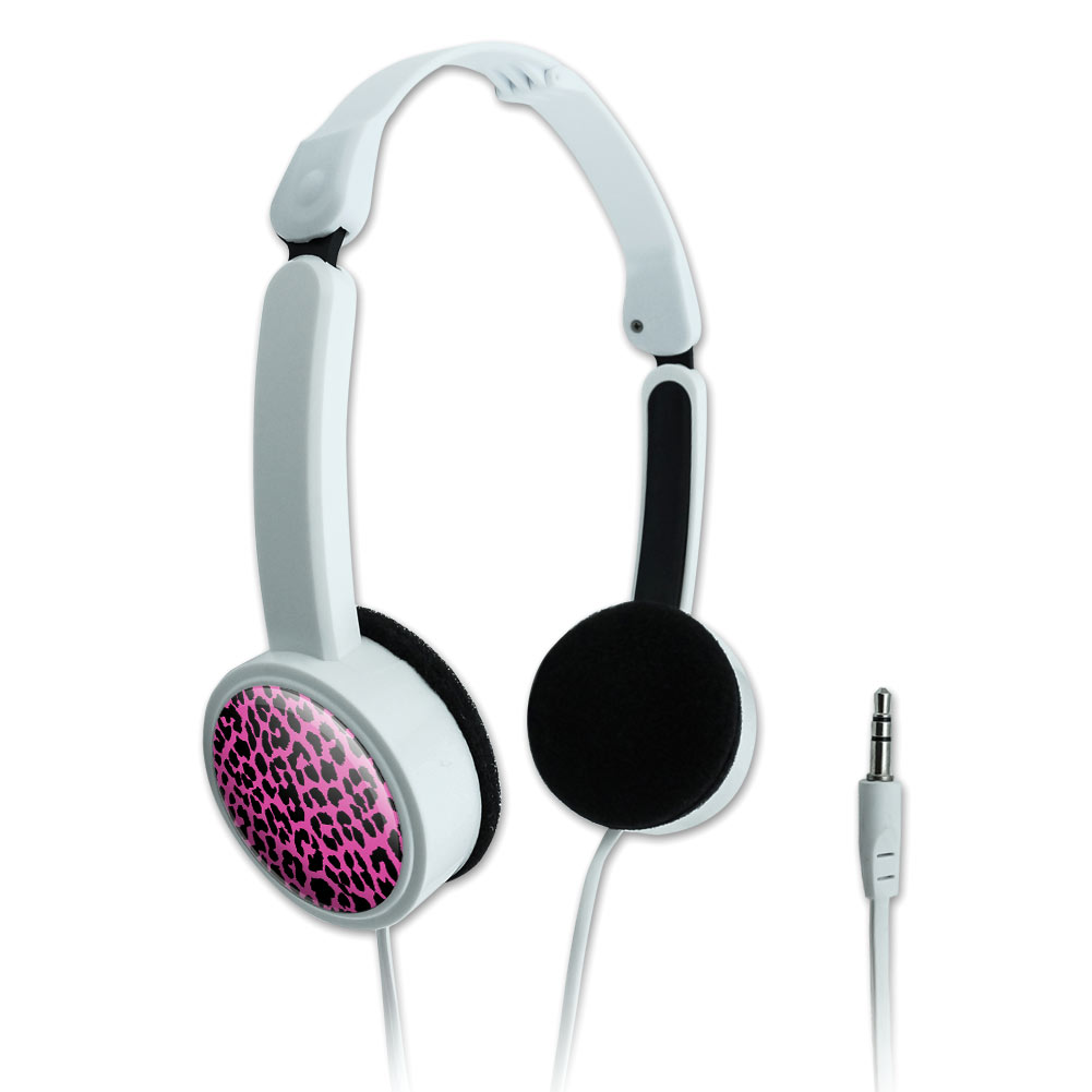 Leopard Print Pink and Black Novelty Travel Portable On-Ear Foldable Headphones