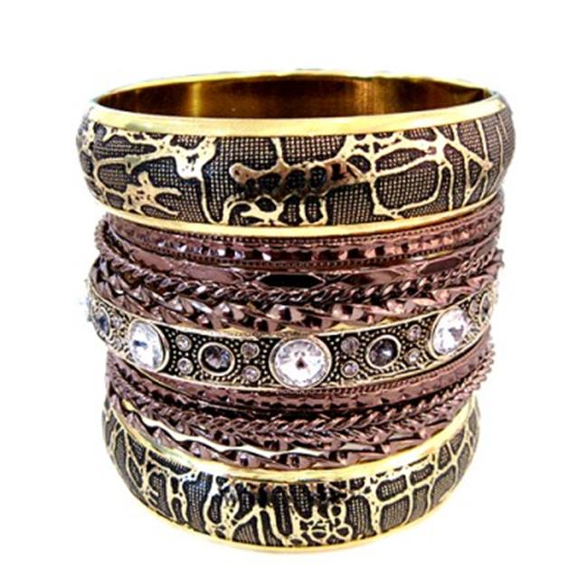 C Jewelry 2Tone Gold And Copper Bangles With Accent Rhinestone, Set Of 15 Pieces