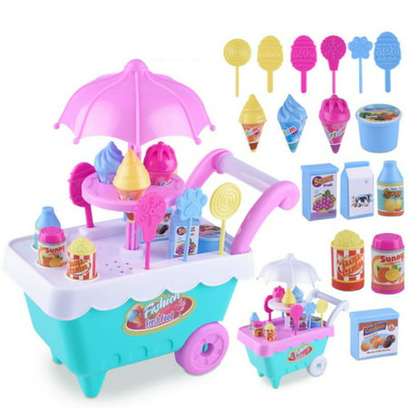 16 Pcs DIY Kids Girls Toy Simulation Mini Candy Ice Cream Trolley Shop Pretend Play Set