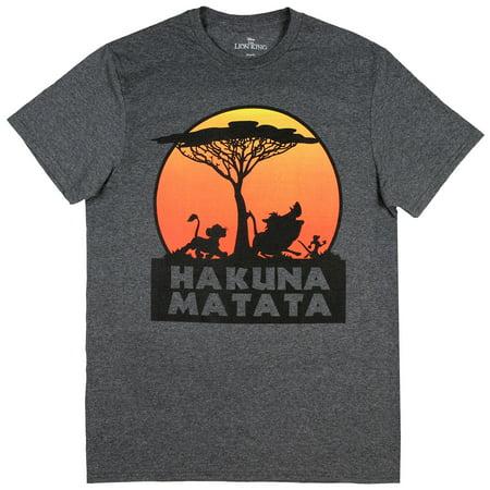Disney The Lion King Hakuna Matata Tree Silhouette Orange Sunset Men's -