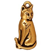 22K Gold Plated Pewter Sitting Cat Charm 22mm (1)