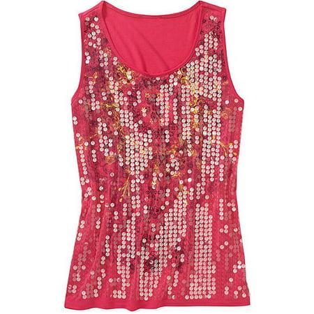 c562d8c7c63 Faded Glory - Women s Plus-Size Embellished Sequin Graphic Tank Top -  Walmart.com