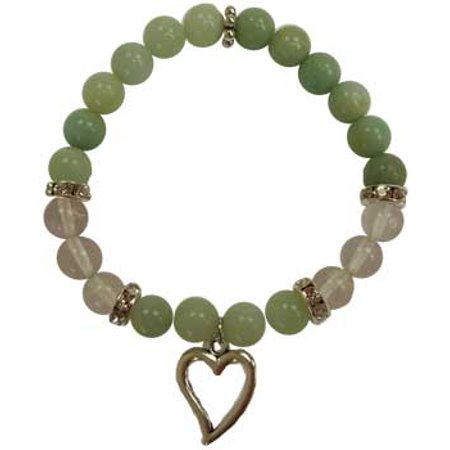 (RBI Jewelry Spiritual Supplies 8mm Amazonite Quartz with Heart Bracelet)