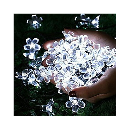 Qedertek Christmas Solar Lights Outdoor Solar String Lights,22.96ft 50LED Cherry Blossom for Indoor Outdoor Patio&Garden Christmas Lighting Decoration Lights(White) (Christmas Decorations Cheap)
